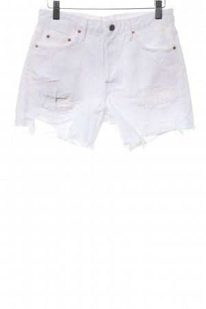 GRLFRND Short en jean blanc style déchiré