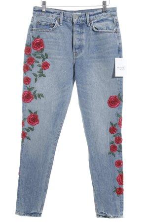 GRLFRND Skinny Jeans blau Blumenmuster Casual-Look