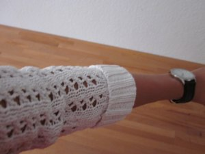 Grob gehäkelter weißer Pulli 3/4 Arm