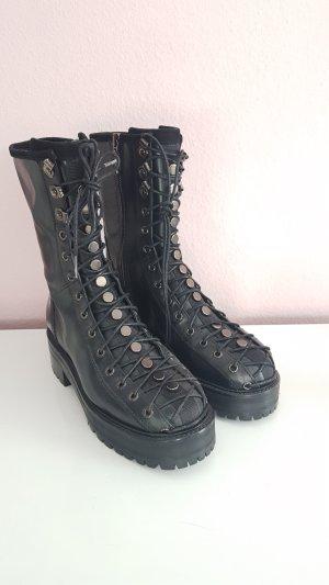 Zara Bottes à talon noir-argenté cuir