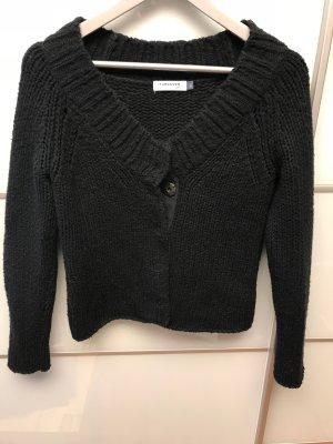 Turnover Grof gebreide trui zwart Wol