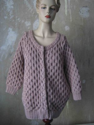 Grobe Strickjacke von COS, 3/4 Arm, altrosé
