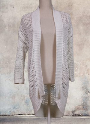 Esprit Coarse Knitted Jacket natural white-cream cotton