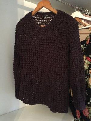 Vila Pull tricoté brun pourpre-rouge mûre coton