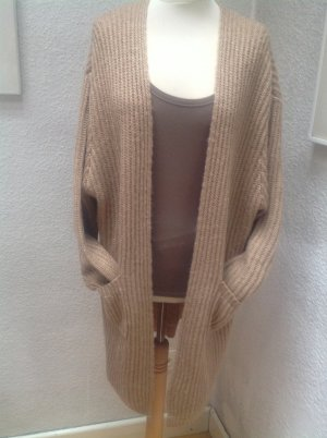 Knitted Coat light brown-silver-colored mixture fibre