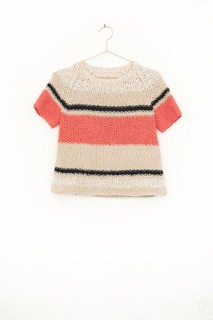 Grobstrick Kurzarm Pullover mit Blockstreifen aus Baumwolle