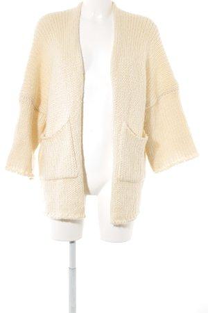 Cardigan a maglia grossa crema punto treccia stile casual