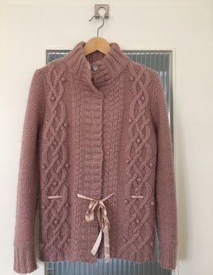 Conleys Veste tricotée en grosses mailles vieux rose tissu mixte