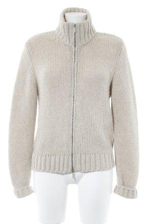 Veste tricotée en grosses mailles beige clair style décontracté