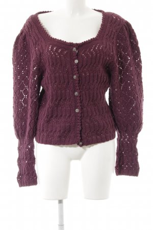 Coarse Knitted Jacket purple cable stitch extravagant style