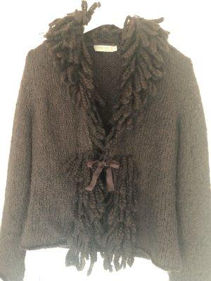 Turnover Coarse Knitted Jacket dark brown