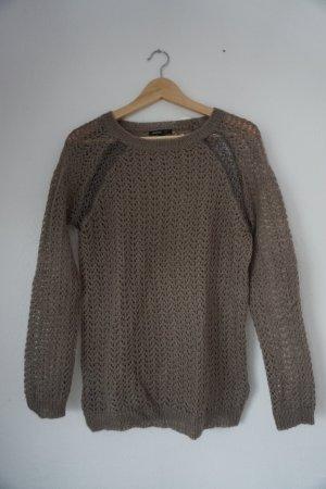 Mango Suit Pull à gosses mailles gris foncé-gris brun tissu mixte