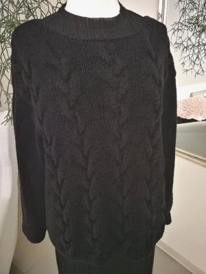 COS Coarse Knitted Sweater black cotton