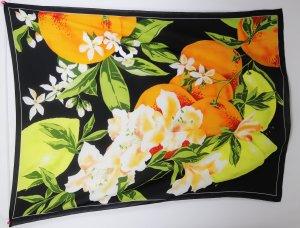 Groß Schultertuch Pareo Tuch Strandtuch Früchte Orchidee Grün Orange Schwarz Gelb Strandkleid Schal Made in Italy
