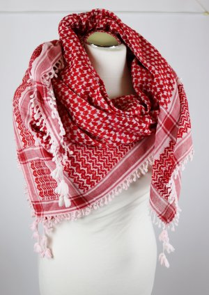 Shemagh white-red cotton