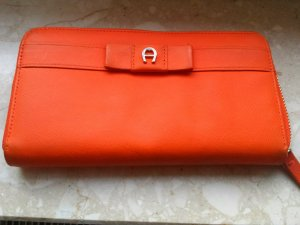 Aigner Wallet bright red-orange leather