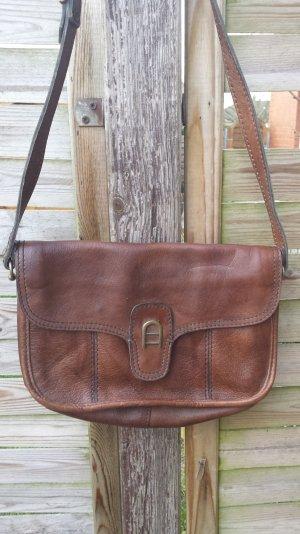 Große Aigner Logo Tasche Vintage Echt Leder Tasche Schultertasche Sattlebag