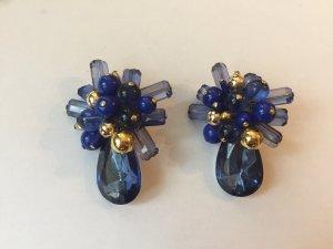 Große blaue Vintage-Ohrclips