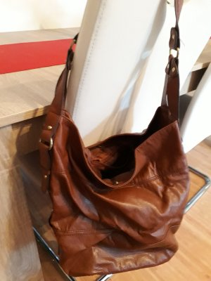 H&M Pouch Bag brown-gold-colored imitation leather