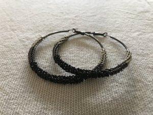 Große Creolen Hänger Ohrringe schwarz silbern Gothic Steampunk