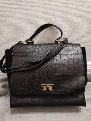 Grosse echt Leder made in Italy Handtasche Tasche schwarz Bowling Bag