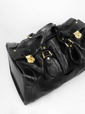 Travel Bag black-gold-colored leather
