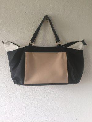 große Handtasche schwarz weiß rosa von Primark