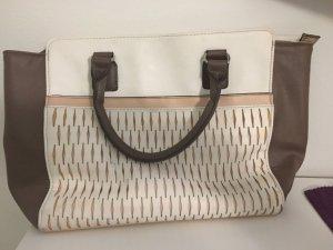 Große Handtasche, weiß/grau/rosa