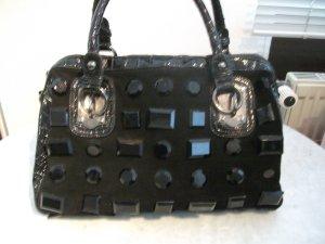 große Henkel Tasche mit Steinchen und Leo Futter, 37x26x14cm, schwarz