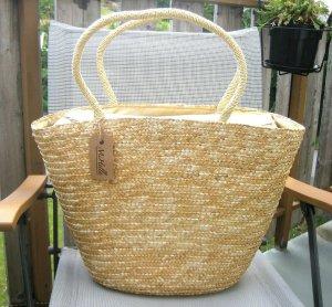 Bolso tipo cesta marrón arena-beige claro