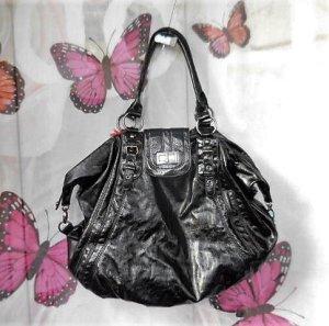 grosse Naf Naf Beutel Tasche schwarz Lack mit chrom sehr guter Zustand wenn sie ganz offen ist Breite 52cm Höhe 45cm  INNEN: 1 Fach mit Reissverschuss 2 offene Fächer