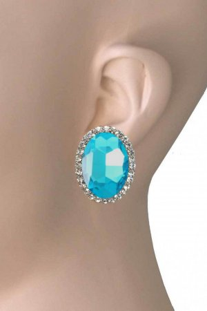 Earclip light blue-silver-colored