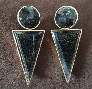 H&M Statement Earrings black-gold-colored