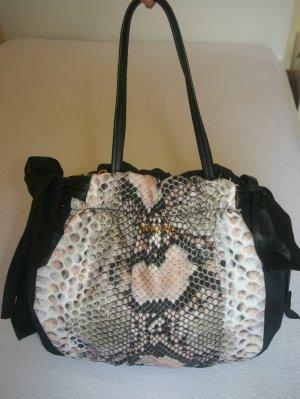 Große Original Prada Tasche/Shopper schwarz Schlangenmuster Handtasche Nylon
