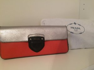 Prada Bag neon orange-silver-colored leather