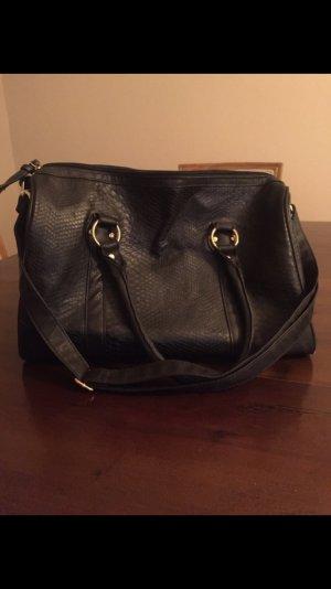 große schwarze Blogger Ledertasche Handtasche Henkeltasche Umhängetasche