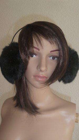 Große schwarze Ohrwärmer Plüsch