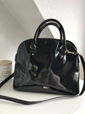 Mango Bowling Bag black-silver-colored imitation leather