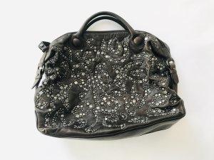 Grosse Tasche von Francesco Biasia, braun mit Nieten, Leder