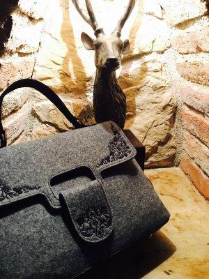 Bolso folclórico gris oscuro-negro fibra textil