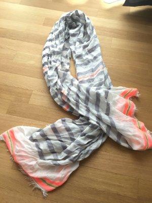 Großer Codello Schal / Tuch weiß, grau, neon