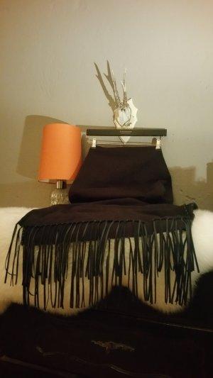 Großer, langer Schal im Westernlook; schwarzer Fransenschal / Lederfransen H&M *NEU* - Kombiversandidee