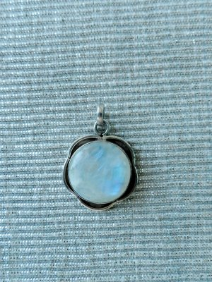 Pendant silver-colored-azure real silver