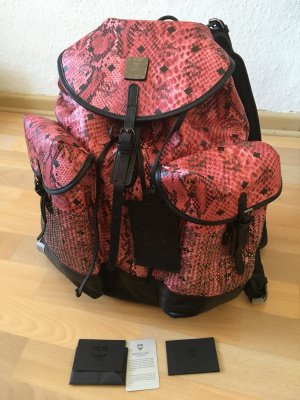 MCM Backpack magenta-raspberry-red leather