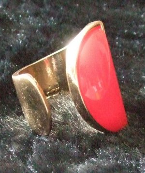 Statement ring goud-rood