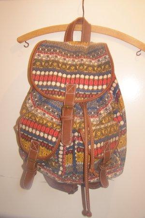 großer Rucksack braun bunt Hippie