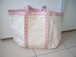 großer Shopper/Weekender von Victoria's Secret beige/rosa mit Nieten Handtasche
