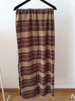 Großes camelfarbenes Halstuch mit Streifen