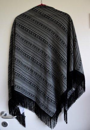 Accessorize Mantilla negro-blanco tejido mezclado