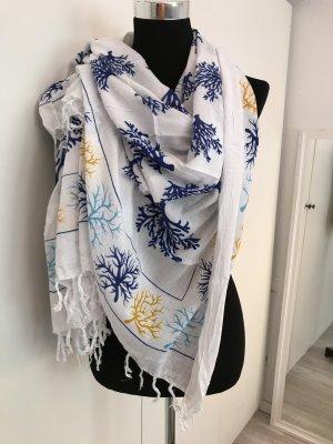 Großes Tuch / Schal weiß blau